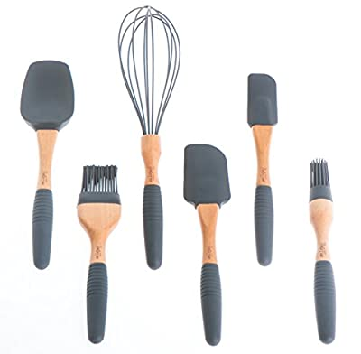 "PortoFino 6Pc. Baking Utensil Set – Beech Wood & Silicone –Cooking / Pastry Tools – Large Spatula, Small Spatula, Spoon Spatula, Flat Pastry Brush, Round Pastry Brush, 12"" Balloon Whisk, Grey"