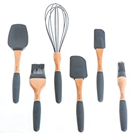 "PortoFino 6Pc. Baking Utensil Set - Beech Wood & Silicone -Cooking/Pastry Tools - Large Spatula, Small Spatula, Spoon Spatula, Flat Pastry Brush, Round Pastry Brush, 12"" Balloon Whisk, Grey 47 PREMIUM NATURAL BEECH WOOD BAKING UTENSILS - Elegant Beech Wood utensils add a premium touch to any kitchen; Complete set of utensils meet all your baking, mixing, basting and glazing needs 100% FOOD GRADE SILICONE with NO ""FILLERS"" - All silicone utensil heads are heat resistant to 480oF - FDA compliant 100% Food-grade silicone which conforms with US FDA 21 CFR 177.2600 as tested by SGS global testing agency; Our silicone is BPA-free and won't leach harmful chemicals or odors into your food FATIGUE-FREE GRIP - Comfortable and non-slip grips for fatigue-free cooking and baking; Removable grips are made from recyclable TPR (Thermoplastic Rubber) and can be pulled-off and placed in dishwasher for easy cleaning"