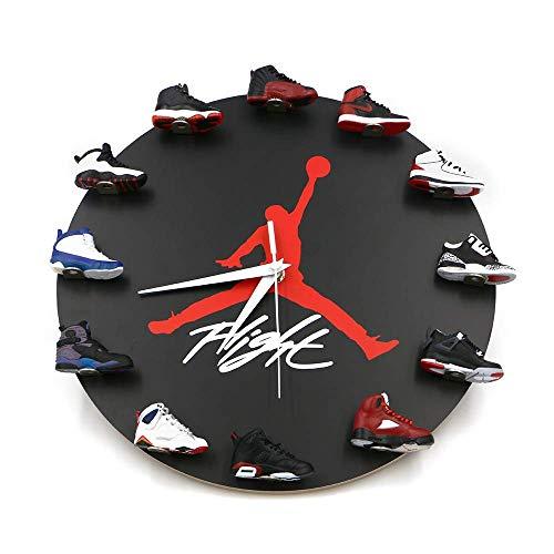 AKIGN Air Jordan Horloge Murale Mini Baskets , 12″horloges murales Grandes Baskets Horloge Murale, vestiaire Joueur de Basket-Ball Salle de Repos décoration , Style Sneaker décorA
