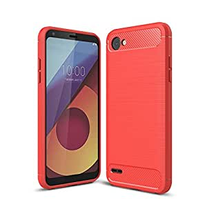 For LG Q6 Carbon Fiber Hybrid Heavy Duty Tough Strong Shockproof Case Cover (Red)
