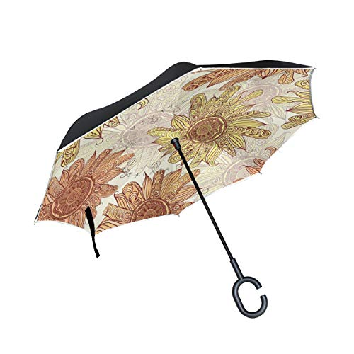 Reverse Umbrella Cool Sunflower Windproof Double Layer Folding Inverted Umbrella Anti-UV Protection with C-Shaped Handle for Car Outdoor Use