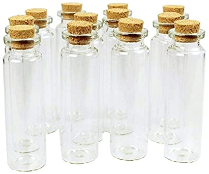 369e4ba0db89 Firefly Imports Homeford Mini Glass Tube Corked Jars Candy Bottle, Clear,  3-Inch