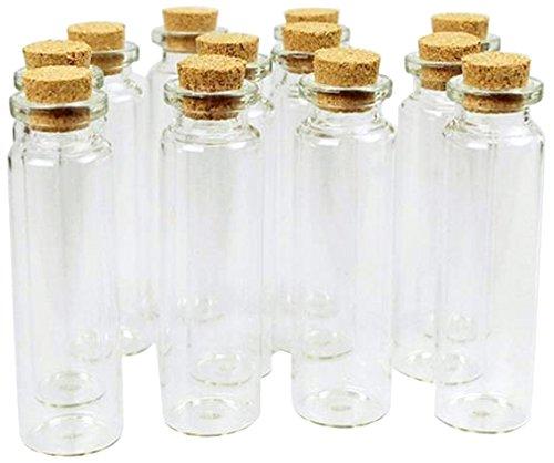 Homeford Mini Glass Tube Corked Jars Candy Bottle, Clear,...