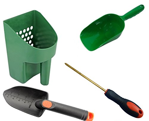 Metal Detecting and Treasure Hunting Tool Kit #1 Sand Scoop, Hand Trowel, Super Scooper, and Brass Probe ()