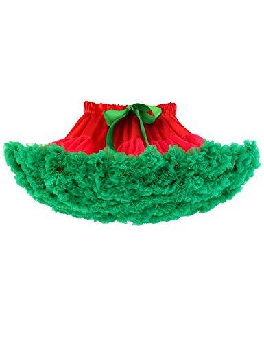 Baby Girls Tutu Skirt Princess Fluffy Soft Chiffon Ballet Birthday Party Pettiskirt Red-Green XS]()