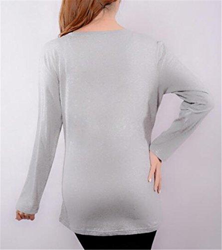 Grey3 Donna Maglietta Bluse shirt Casual T Forti Simpatiche Manica Premaman Gravidanza Collo Femminili Rotondo Taglie Top Stampa Lunga Cute Tayaho Baby EwqR1T