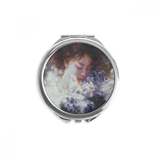 Dream Oil Painting - Dream Away XJJ Oil Painting Mirror Round Portable Hand Pocket Makeup