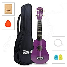 Apelila 21 inch Soprano Ukulele Acoustic Mini Guitar Musical Instrument with Bag, Pick, Strings, for Beginner, Kid…