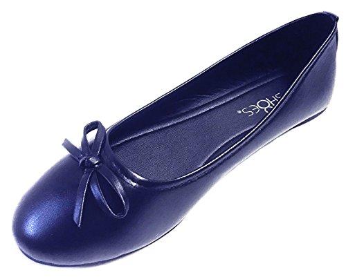 New Womens Ballerina Ballet Flats Shoes Leopard & Black (9, Navy 8500)