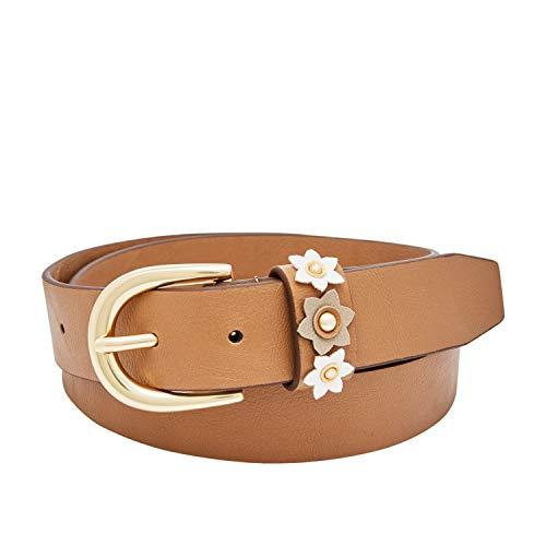 - Relic by Fossil Women's Plus Size Jean Floral Appliqué Belt, Camel, 1X