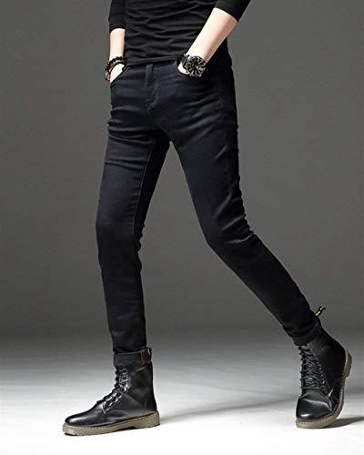 Puro La Cónicos Color Ajustados Cómodo Pantalones Del De Hombres Vaqueros Delgados Los Pierna Largos Negro Battercake q8wgP64x