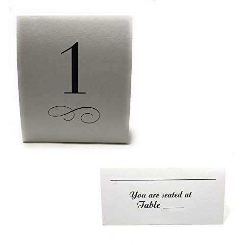 Guest Table Seating Bundle with 100 Seating Table Cards and Table Number Cards, numbers 1-24 by WorldPrime