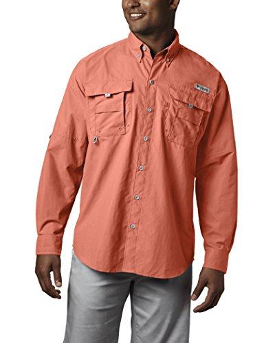 Columbia Mens Bahama II Long Sleeve Shirt, Bright Peach, X-Large