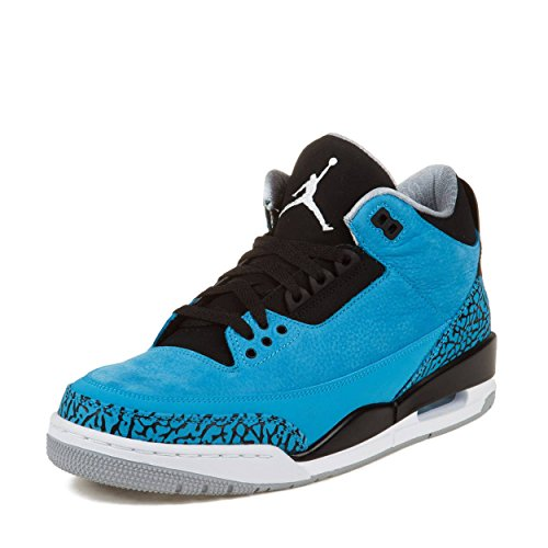 NIKE Mens Air Jordan 3 Retro Powder Blue Leather Basketball Shoes