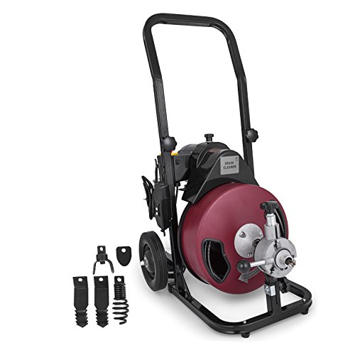 """VEVOR 100 Ft x 3/8 Inch Electric Drain Auger Best fit 1""""(25mm)—4""""(100mm) Pipes Electric Drain Snake Portable Drain Cleaner Machine with 4 Cutters Drain Cleaning Machine Sewer Plumbing Tool by VEVOR"""