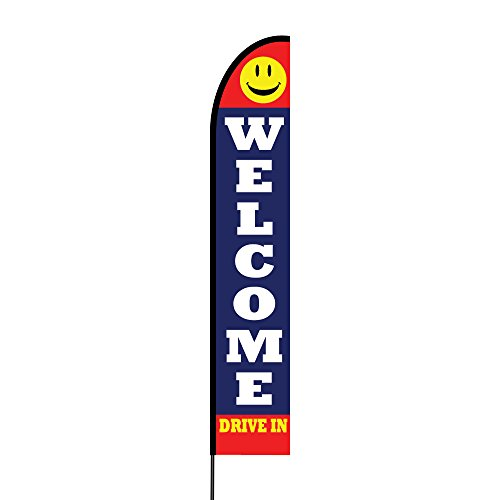 Attractive Outdoor Printed Promotional Business Advertising Swooper Flutter Feather Flag / Banner Complete Pole Kit and Spike, 15 Feet - Welcome Drive In Flag