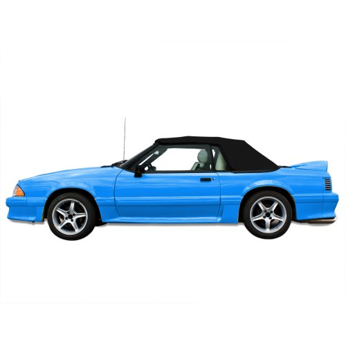 1991 Ford Mustang Convertible (Ford Mustang Convertible Top for 91-93 Models in Pinpoint Vinyl with Plastic Window, Black)