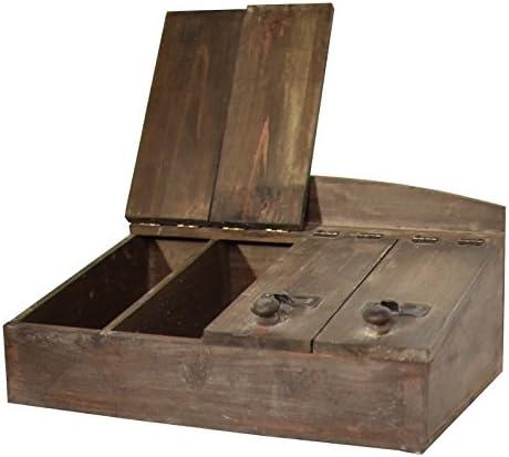 Caja de cubiertos de té de madera de estilo antiguo almacenamiento ...