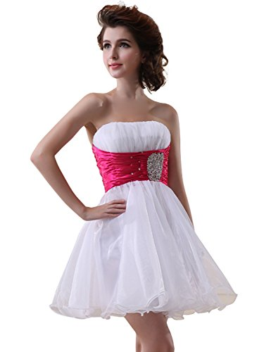 Sarahbridal Women's Fashion Beaded Short Gowns Homecoming Prom Cocktail Party Mini Dress White and Fuchsia U14 ()