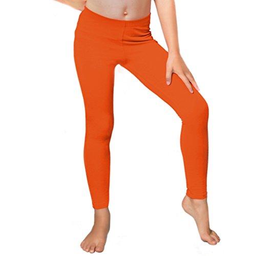 (Stretch is Comfort Girl's Cotton Footless Leggings Orange Medium )