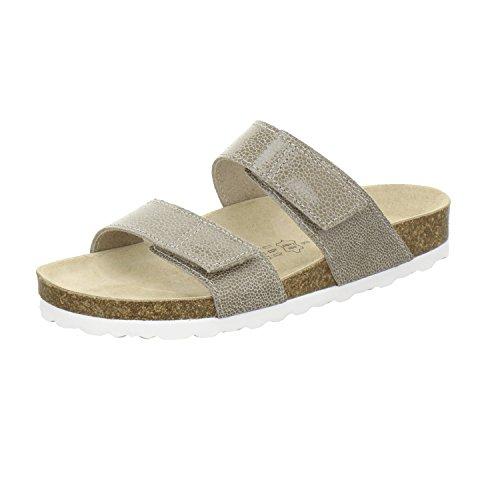 AFS-Schuhe 2104, Pantolette Damen Komfort, Bequeme Hausschuhe, Hochwertiges. Echtes Leder, Made in Germany Beige/Reptil