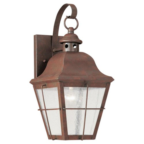 (Sea Gull Lighting 8462-44 Chatham 1-Light Outdoor Wall Lantern in Weathered Copper)