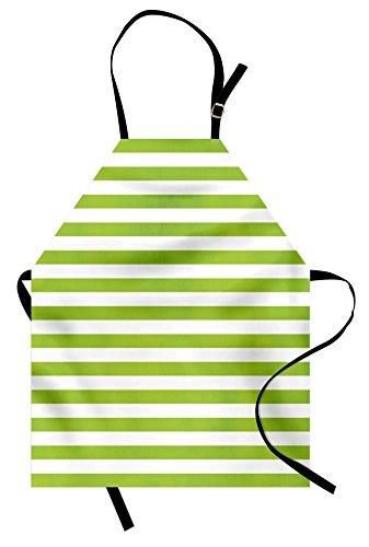 Ambesonne Lime Green Apron, Horizontal Stripes Simplistic Watercolor Paintbrush Large Lines Image, Unisex Kitchen Bib with Adjustable Neck for Cooking Gardening, Adult Size, Green White