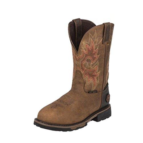 Justin Waterproof Shoes (JOW Men's Justin Original Workboot Rustic Barnwood Tec Tuff Waterproof Work Boot Barnwood 8.5 D(M) US)
