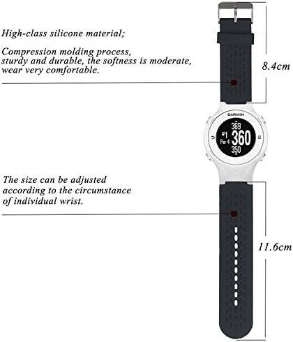 QGHXO Band for Garmin Approach S2 S4, Soft Silicone Replacement Watch Band Strap for Garmin Approach S2 S4 GPS Golf Watch, Fits 5.9 inches-8.26 inches Wrist