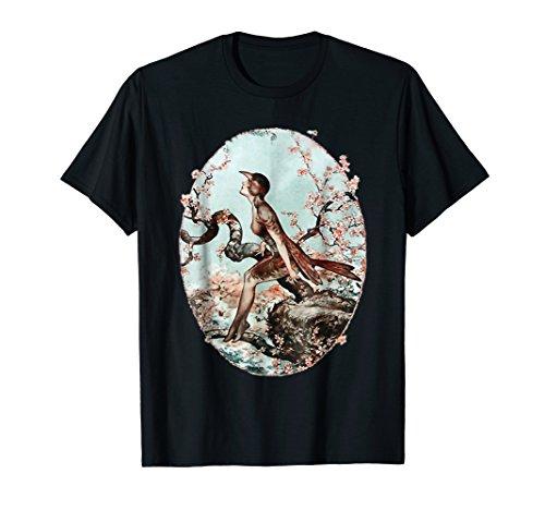 Cherry Blossom Vintage Oriental Bird Lady Tee Shirt