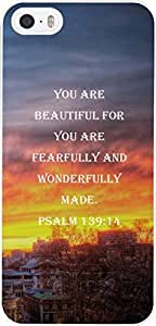 Case for Iphone 5 christian lyrics,Apple Iphone 5S Case Bible Verses Quotes You Are Beautiful For You Are Fearfully And Wonderfully Made. Psalm 139:14