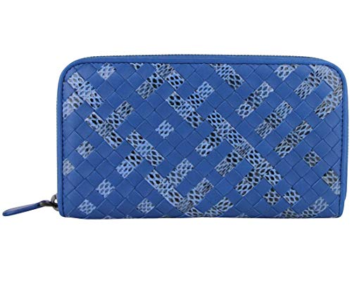 Bottega Veneta Woven Blue Leather Zip Around Wallet 114076 4321