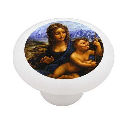 Madonna of the Yarnwinder by da Vinci Ceramic Drawer Knob