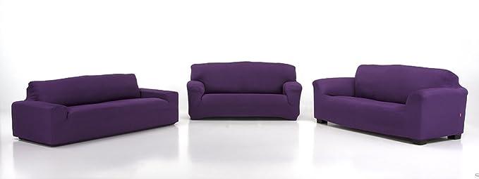 Belmarti Toronto - Funda sofa elástica Patternfit, 4 Plazas, color Malva