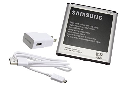 Original Samsung Battery B600BE 2600mAh For Samsung Galaxy S4 and S4 Active ( NOT COMPATIBLE with S4 Zoom or S4 Mini ) with Original Samsung Micro-USB White Charger (Non-Retail Package)
