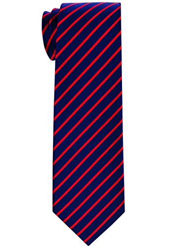 Retreez Thin Regimental Striped Woven Boy's Tie (8-10 years) - Navy Blue with Red Stripe (Navy Boys Stripe Tie)