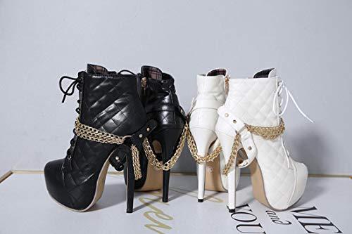 A Stivali Metallo Inverno Catena Alti Spillo Autunno White DANDANJIE 35EU Moda Donna Tacchi Tacco Stivali 4YwnUB