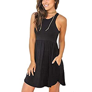 WNEEDU Women's Long Sleeve Loose Plain Dresses Casual Short Dress with Pockets
