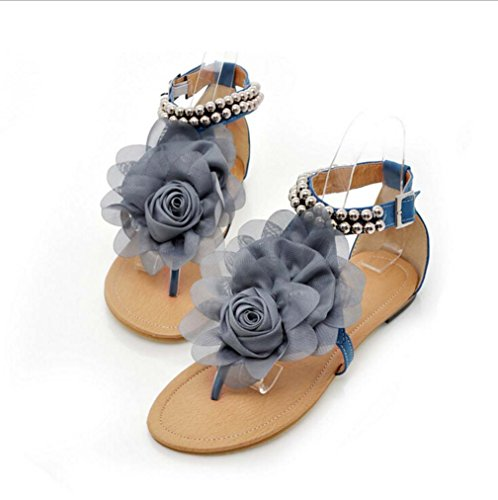 Sandalias De Mujer Rebordear Flores Plataformas De Zapatos Sandalias Planas De Verano Azul Cielo