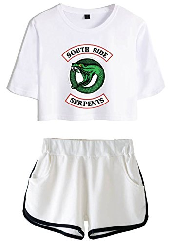 bianca Riverdale Ragazze bianca Crop Pantaloncini 4892 e SERAPHY Donne Magliette e Top Crea per SwdqqR7