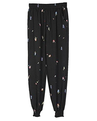 las Mujer Harem Pantalones anchos con Estampado Pantalones Talle Alto Cintura Elástica 6