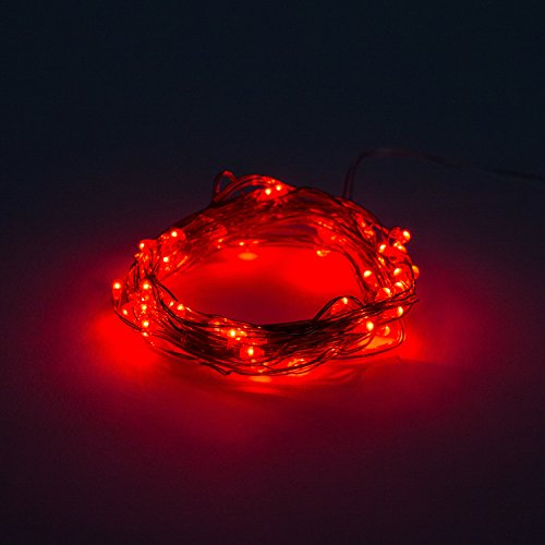 LED Fairy Lights - 6 Foot Battery Operated Waterproof with 20 Micro LED on Copper Wire – Red
