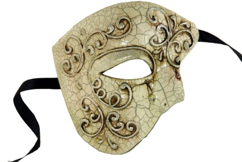 Laser Cut Venetian Halloween Masquerade Mask Costume Extravagant and Elegant Finely Detailed Phamtom Inspired - White Silver Lining by KBMasks - Elegant Laser Cut Mask