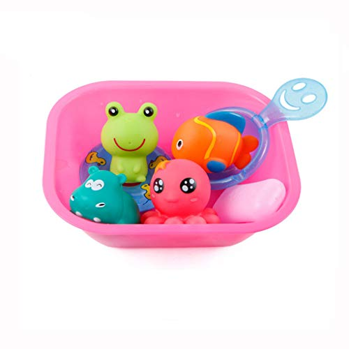Bathtime Toys, Baby Bath Toys Cartoon Marine Animals Squeak Fun Kids Bathtub Salvage Toys Float Fun Decorations for Shower, Birthday Party Favors Gift for Toddlers (As Show)