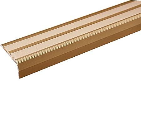 ALUMINIUM ANTI NON SLIP STAIR EDGE NOSING  TRIM  STAIR NOSING (Gold With  Begie