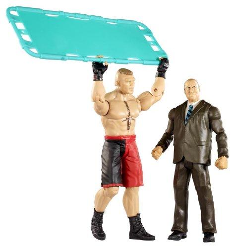 WWE Battle Pack Brock Lesnar vs. Paul Heyman with Stretcher Action Figure, 2-Pack