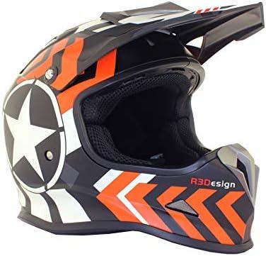 53-54 CM CASCO NARANJA 3GO X15 NI/ÑOS RAYAS ESTRELLA MOTOCICLETA MOTOCROSS ENDURO MX QUAD TRAIL BICI XS