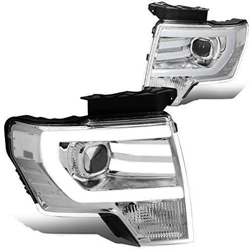 Pair Chrome Housing Clear Side 3D LED DRL Projector Headlight Lamps Compatible with Ford F150 09-14