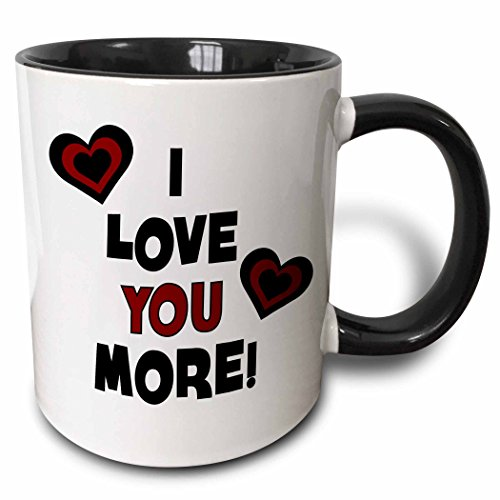 3dRose I Love You More In Black and Red With Hearts - Two Tone Black Mug, 11oz (mug_211127_4), 11 oz, Black/White