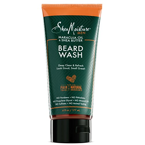 Shea Moisture Mens Beard Wash, Premium All Natural ingredients, Maracuja Oil & Shea Butter Deep Clean & Refresh Cleanser, 6 Ounce ()